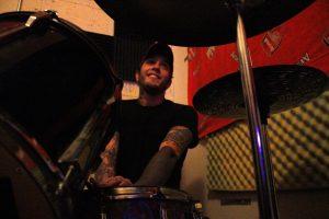 "Daniel Jaryniewichor plays drums as punk-rock band, Guns Don't Run rehearse in Brooklyn on Nov. 29, 2016. ""He's our wonder kid on drums,"" says Guns Don't Run bassist, Justin Miran."